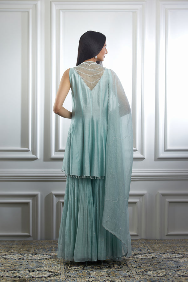 SOFT AQUA HAND EMBROIDERED HIGH LOW KURTA PAIRED WITH SHARARA AND DUPATTA