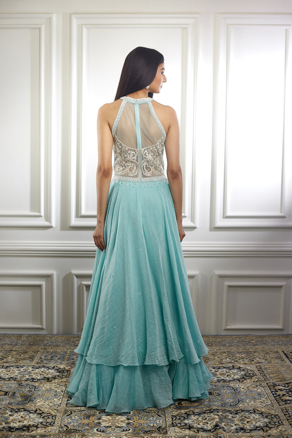 AQUA ANARKALI WITH IVORY THREAD EMBROIDERY AND PEARL EMBELLISHMENTS