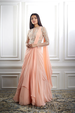PEACH DRAPE DORI EMBROIDERED SAREE