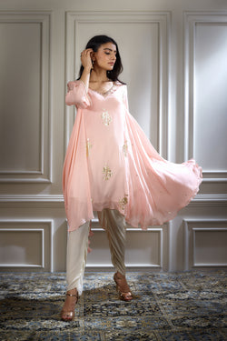 PEACH PINK FOIL PRINTED HAND EMBROIDERED KURTA PAIRED WITH PANTS