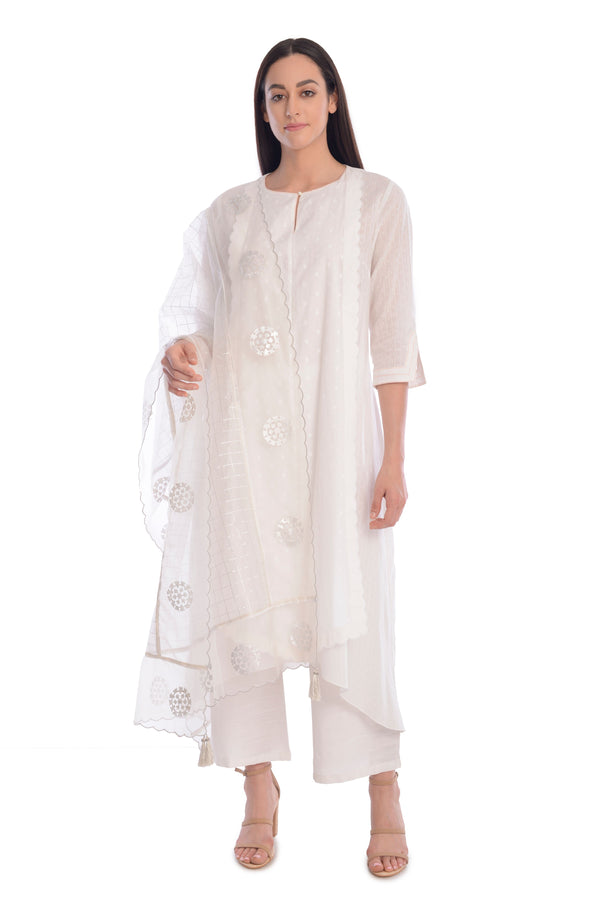 White KurtaSet With Pants