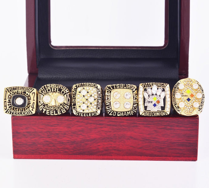 1974/1975/1978/1979/2005/2008 Pittsburgh Steelers Super Bowl Championship Rings Set