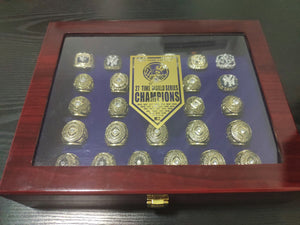 27 PCS New York Yankees 1923-2009 World Series Championship Rings Set  Team: New York Yankees Year: 1923-2009(1923/1927/1928/1932/1936/1937/1938/1939/1941/1943/1947/1949/1950/1951/1952/1953/1956/1958/1961/1962/1977/1978/1996/1998/1999/2000/2009) Metal Type: Zinc Alloy Material: Cubic Zirconia Size: 9 to 12
