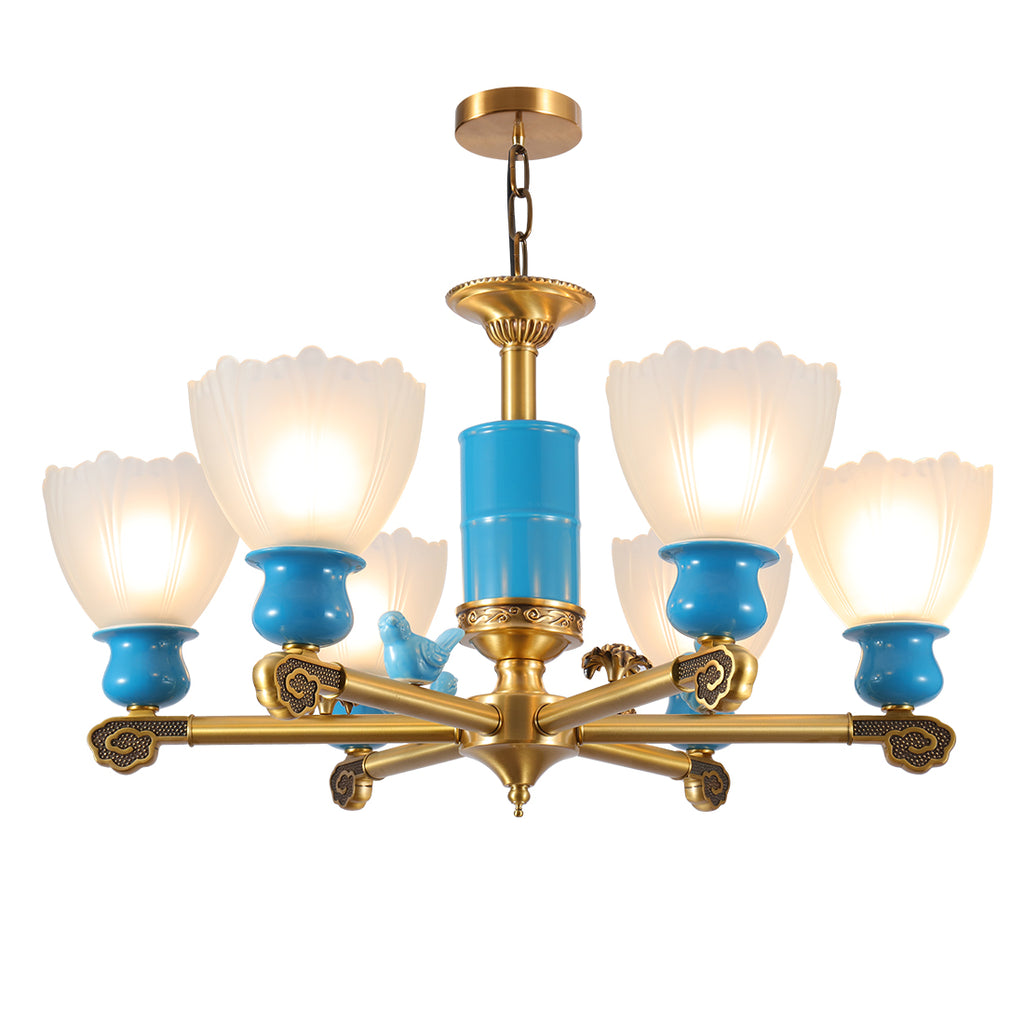Modern blue chandelier lights for home decor with glass shade