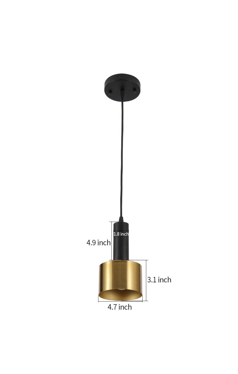 Modern Mini Pendant Light Island torch hanging light with Gold and Black finish