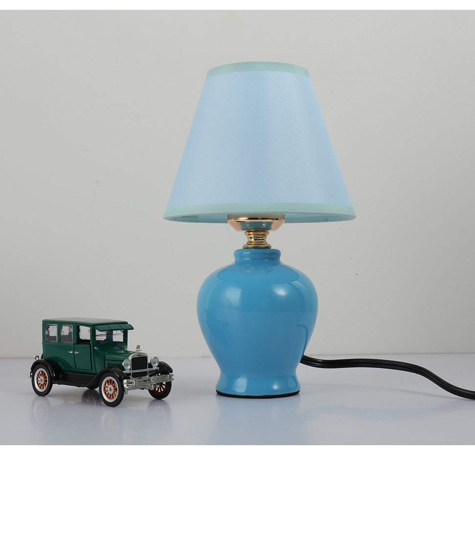 Modern mini table lamp kids ceramic table light with linen white fabric shade