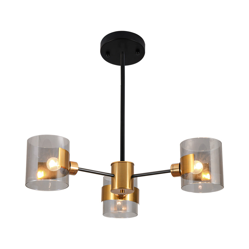 3 light modern glass chandelier with gold finish