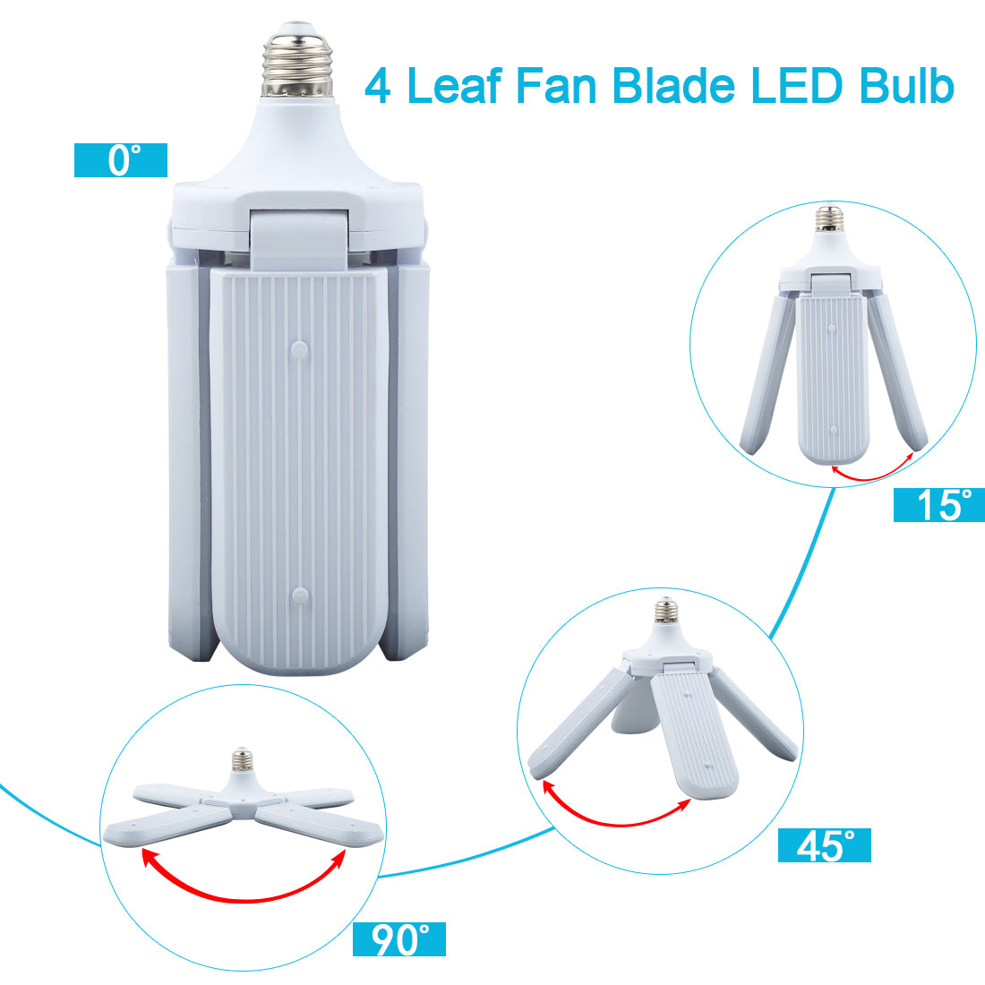 4 leaf garage light,Adjustable E26 Fan Blade LED Light Bulb ceiling light