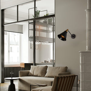 Industrial black swing arm wall light fixture adjustable wall sconce
