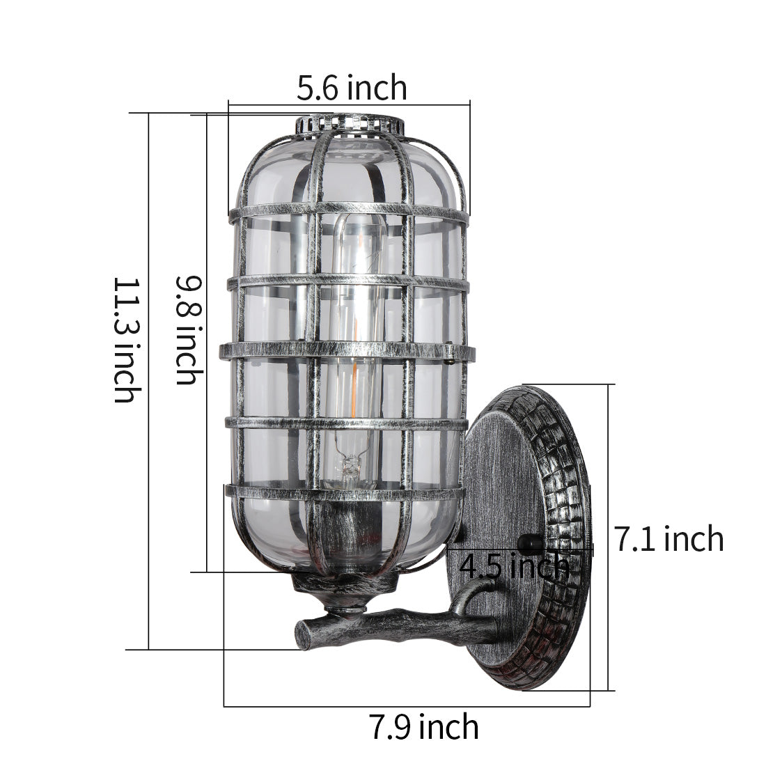 Industrial indoor net glass wall sconce outdoor cage wall light with black silver finish