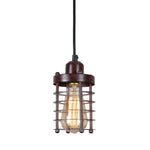 Rustic wire cage pendant light fixture mini pendant lights