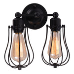 2-Lights arm black cage wall sconce lighting interior living room wall lights