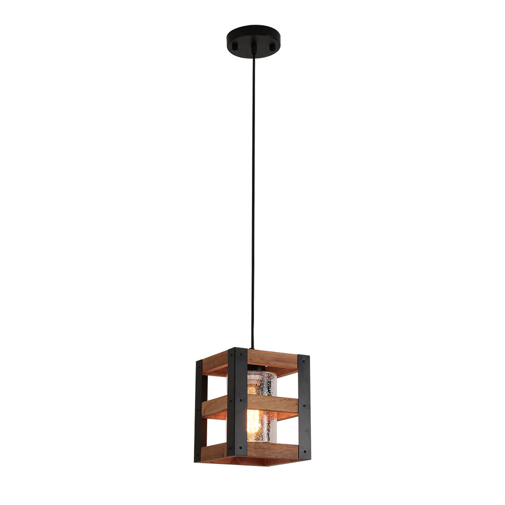 Black wood pendant light, island hanging light fixture with bubble glass shade