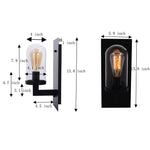 Clear Glass wall lamp vintage Industrial porch black wall sconces