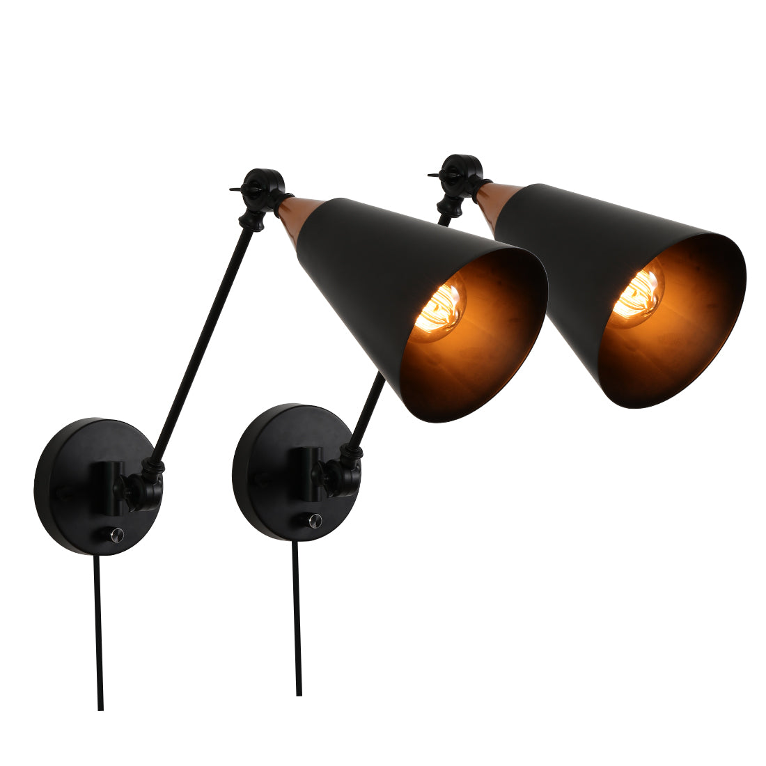 Adjustable black swing arm wall light fixture,2 pack plug in wall sconce