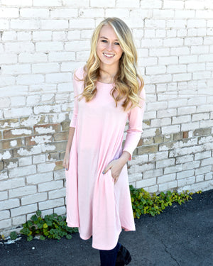 Dusty Pink 3/4 Sleeve A-Line Pocket Dress