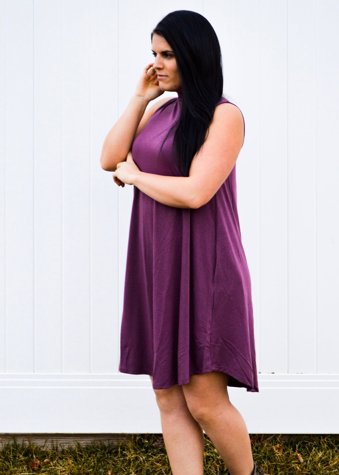 Eggplant Sleeveless A-Line Pocket Dress