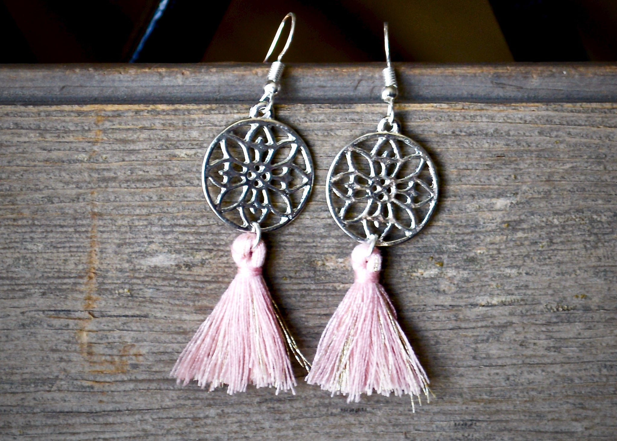 Pink Mandala Tassel Earrings