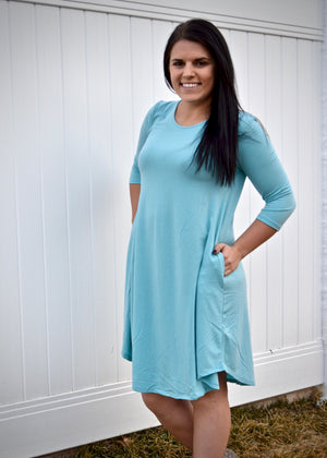 Milky Blue 3/4 sleeve A-Line Hem Dress