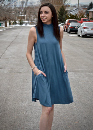 Titanium Sleeveless A-Line Pocket Dress
