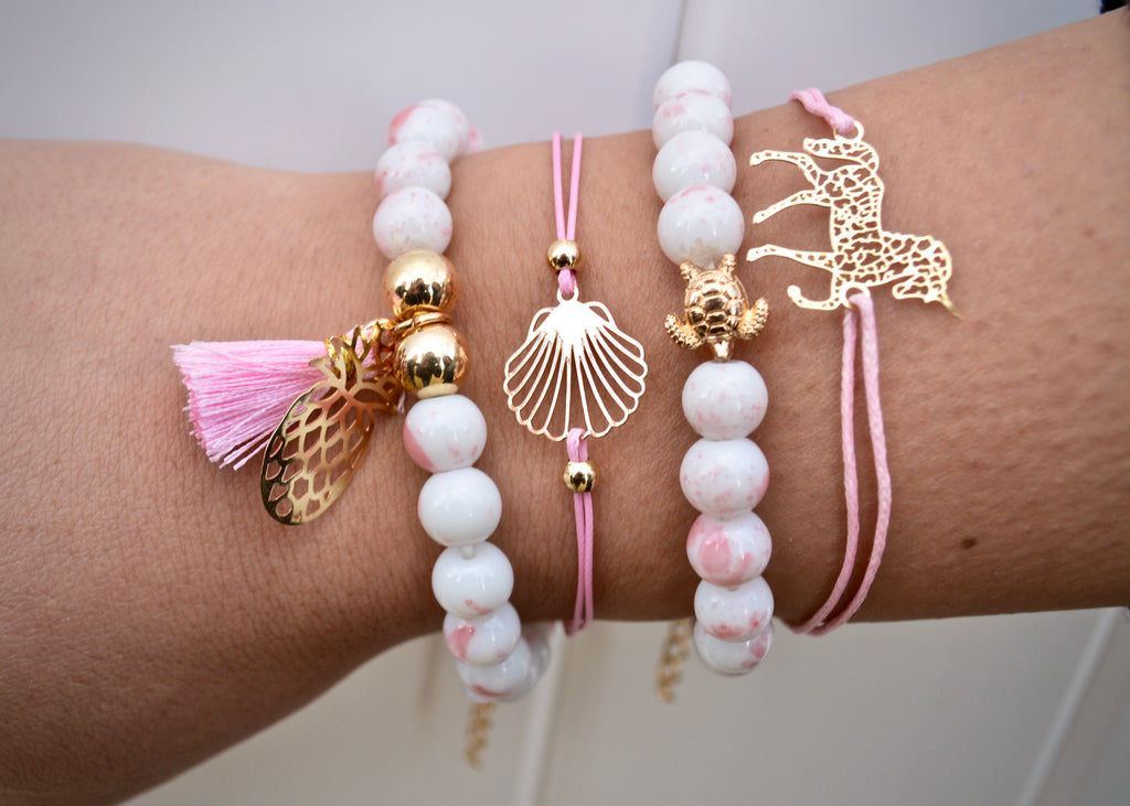 Boho Pink Beaded Pineapple Tassel Bracelet