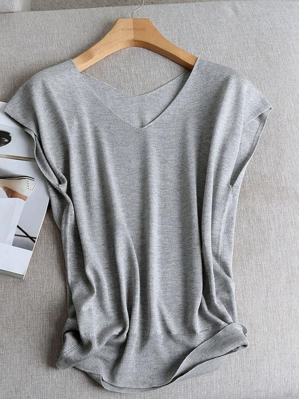 Regular Short Sleeve V-Neck Sweater