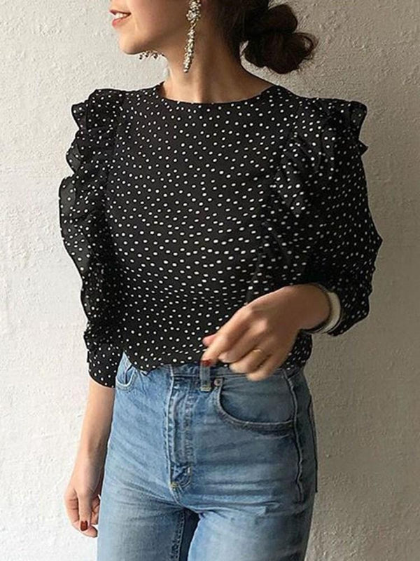 V-Neck Polka Dots Button Standard Three-Quarter Sleeve Blouse