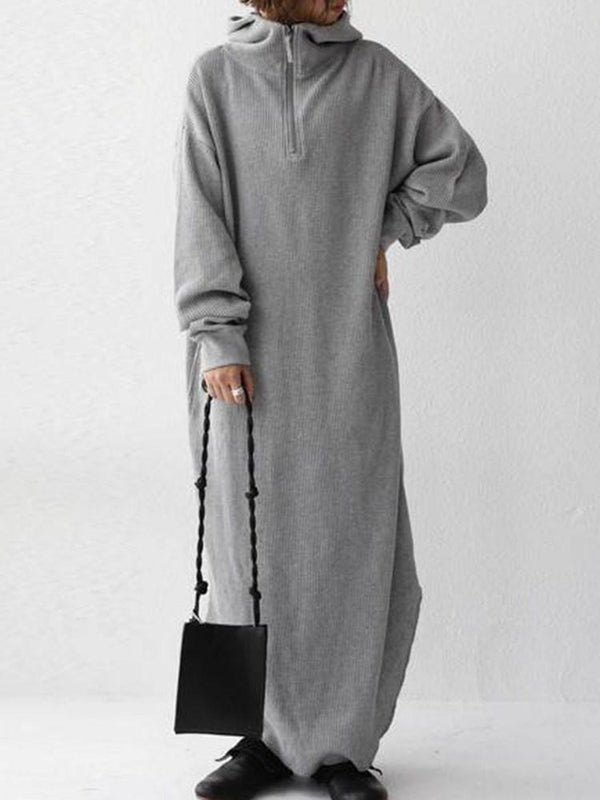 Long Sleeve Floor-Length Hooded Fall Pullover Dress