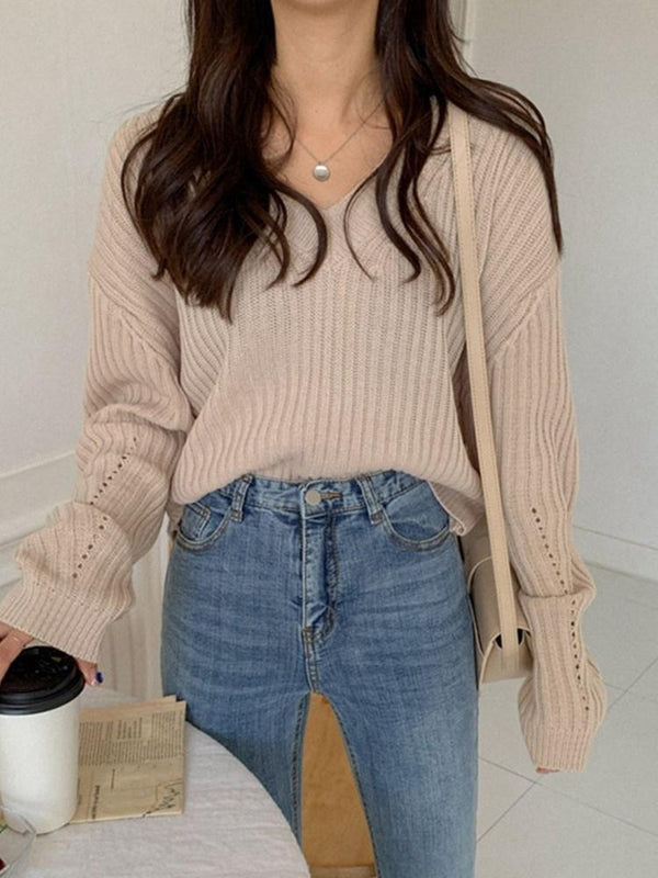 Thread V-Neck Fall Sweater