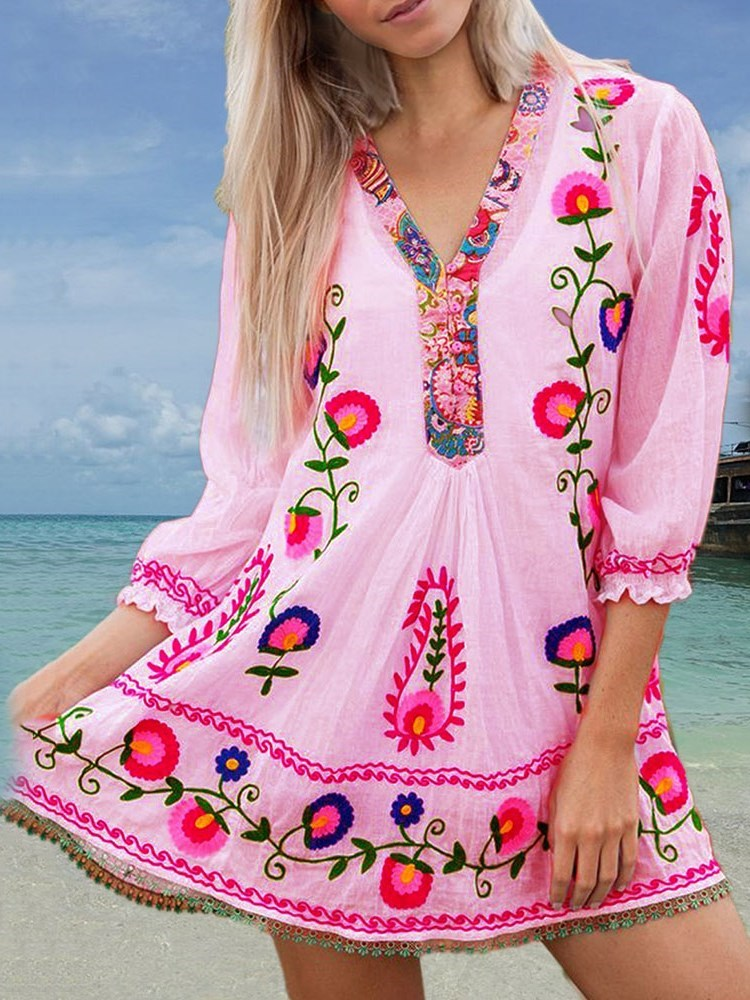 Three-Quarter Sleeve Above Knee V-Neck Pullover Plant Dress