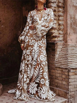 Floor-Length Long Sleeve Print A-Line Lantern Sleeve Dress