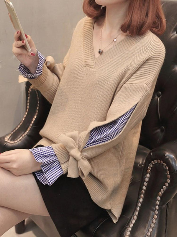 Bowknot V-Neck Spring Sweater