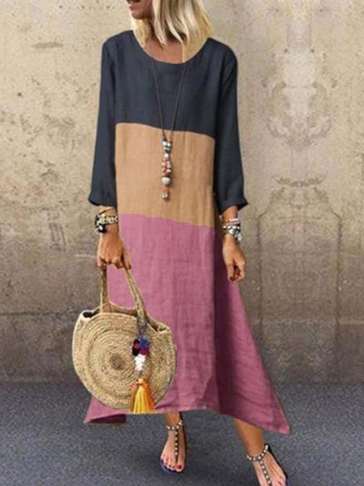 Ankle-Length Round Neck Patchwork Pullover A-Line Dress