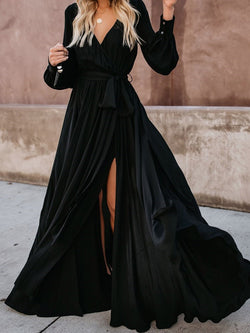 Floor-Length Long Sleeve V-Neck Spring Pullover Dress