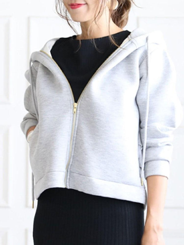 Regular Zipper Falbala Thick Hooded Hoodie