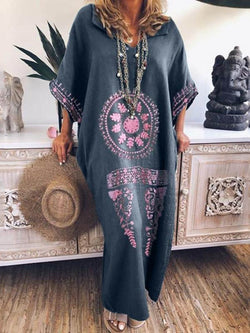Floor-Length Print Three-Quarter Sleeve Pullover Geometric Dress
