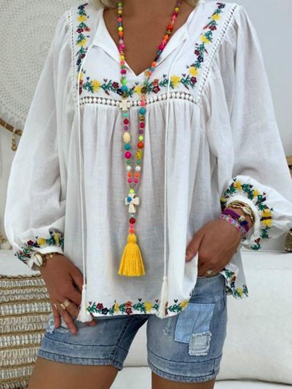 V-Neck Floral Embroidery Long Sleeve Mid-Length Blouse