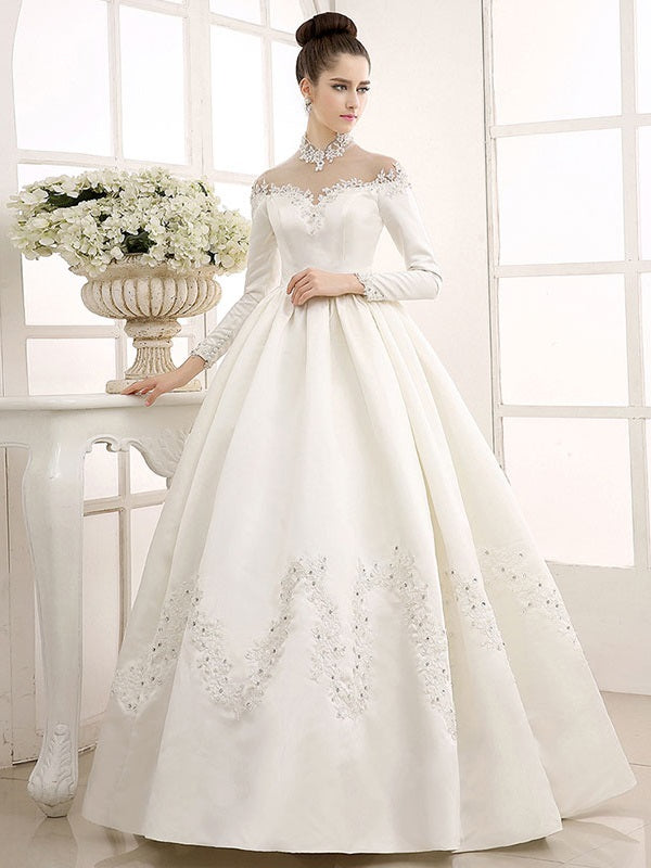 High Neck Button Floor-Length Long Sleeves Church Wedding Dress