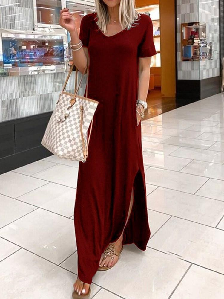 Short Sleeve Floor-Length V-Neck Plain Pullover Dress