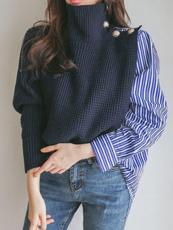 Patchwork Fall Mid-Length Sweater
