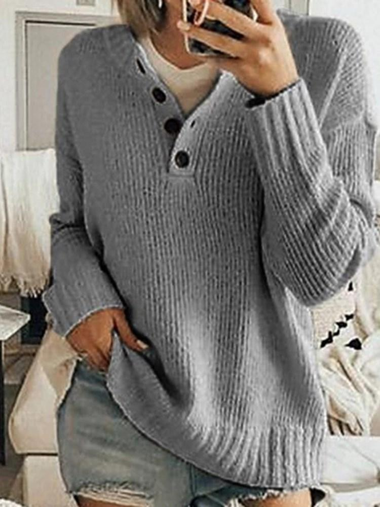 Button V-Neck Long Sleeve Sweater