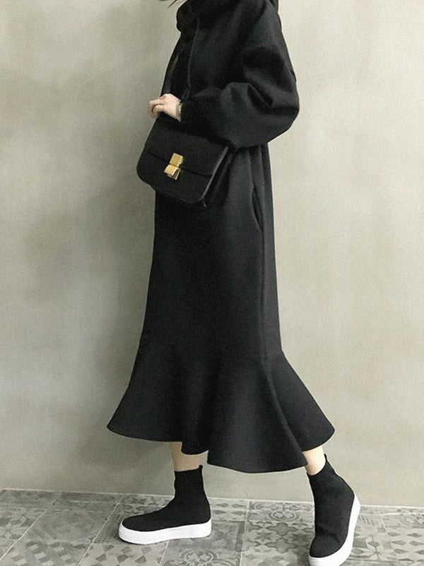 Long Sleeve Hooded Mid-Calf Plain Casual Dress