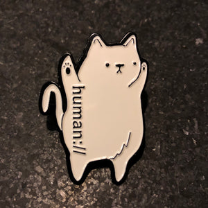 human:// Shmeow Kitty Cat Hat Lapel Pins