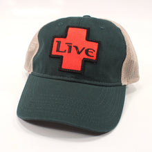 Load image into Gallery viewer, Green/Tan Cap with LIVE Logo Patch