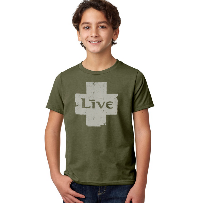 Live Logo Kid's Tee (Military Green)