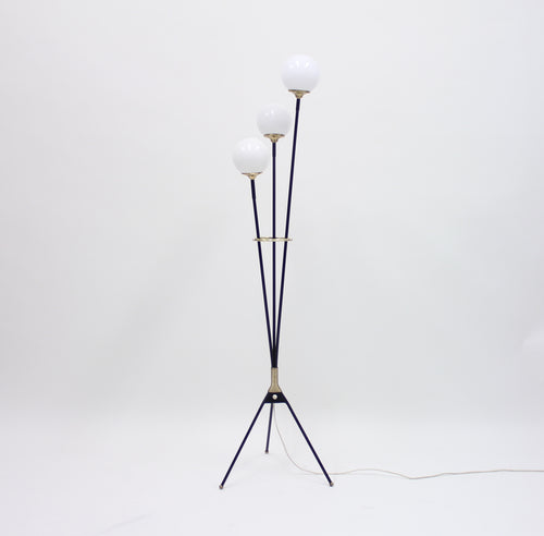 Vintage Swedish 3-Light Floor Lamp on a Tripod Base, 1950s
