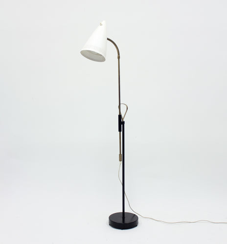 Falkenbergs belysning, brass and metal floor lamp, 1950s