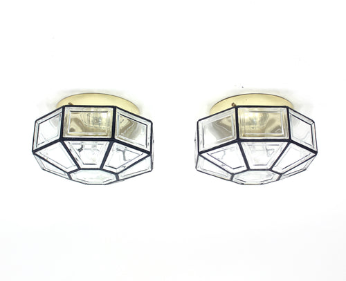 Flush mount lamps, model Carat, by Hans-Agne Jakobsson for Glashütte Limburg, set of 2