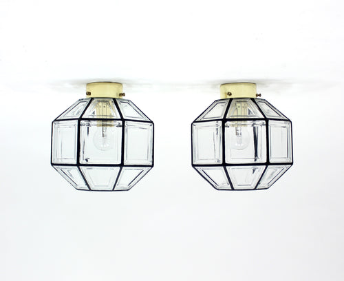 Flush Mount Lamps, model Korina, by Hans-Agne Jacobsson for Glashütte Limburg, Set of 2