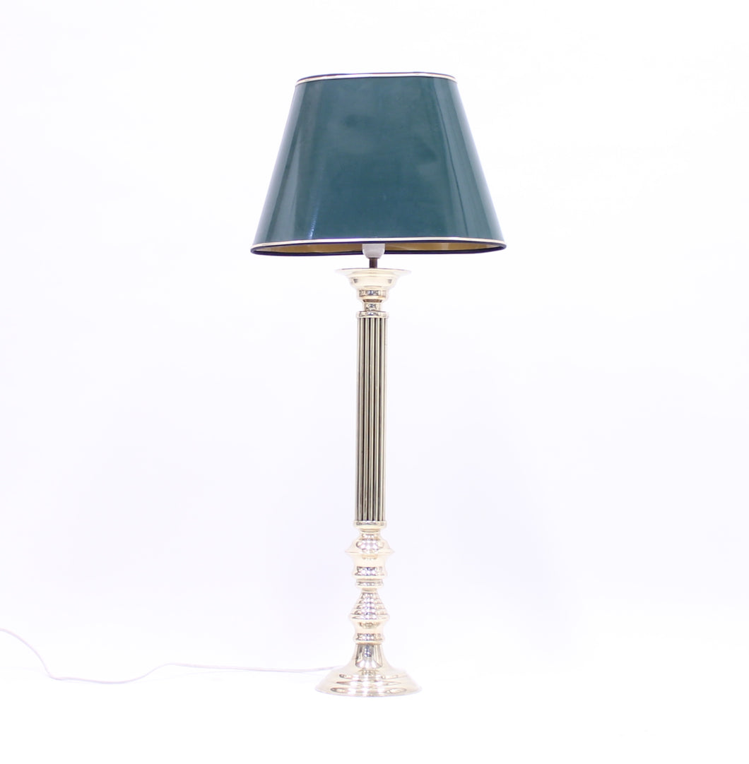 Tall neoclassical brass table lamp with green lacquered shade, 1970s